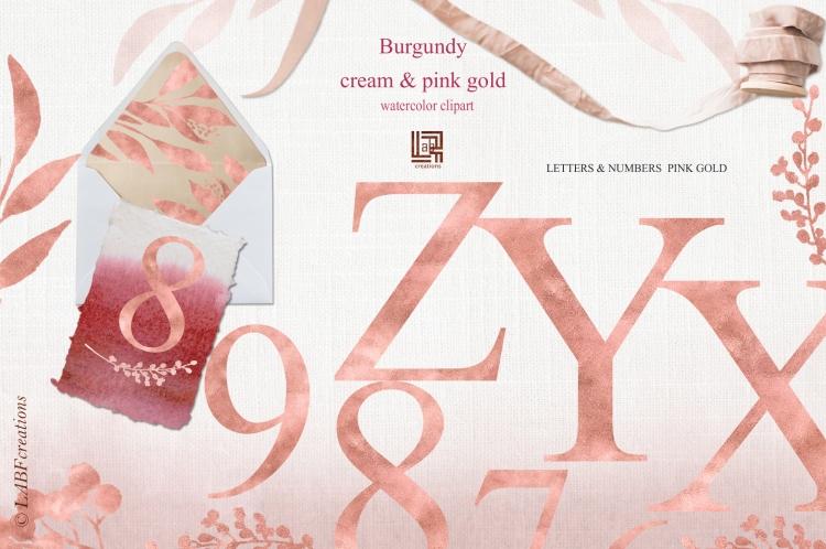 Etsy Letters gold pinkburgundy cream presentation