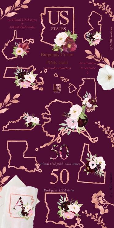 USA states burgundy presentation Texture